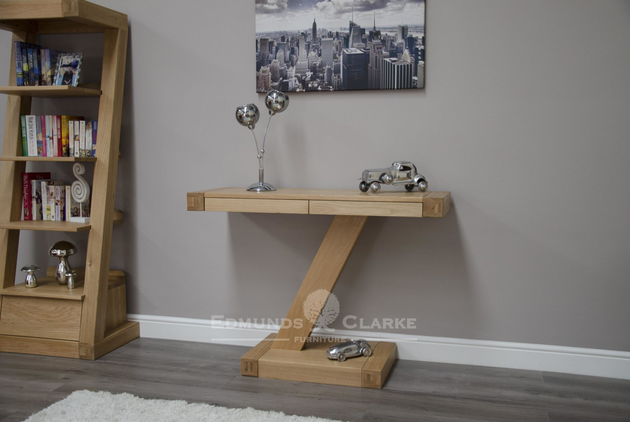 Solid oak Z style modern hall console table