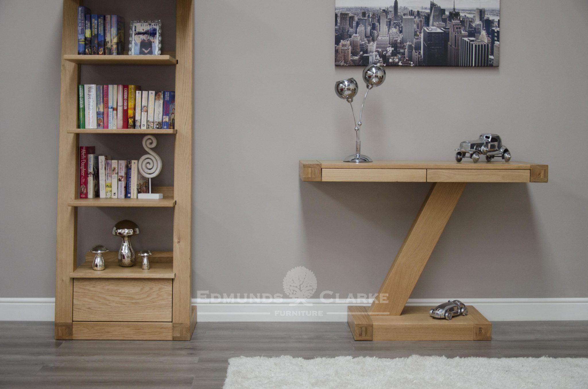 Z designer solid oak modern console table two drawer ZHTMOD