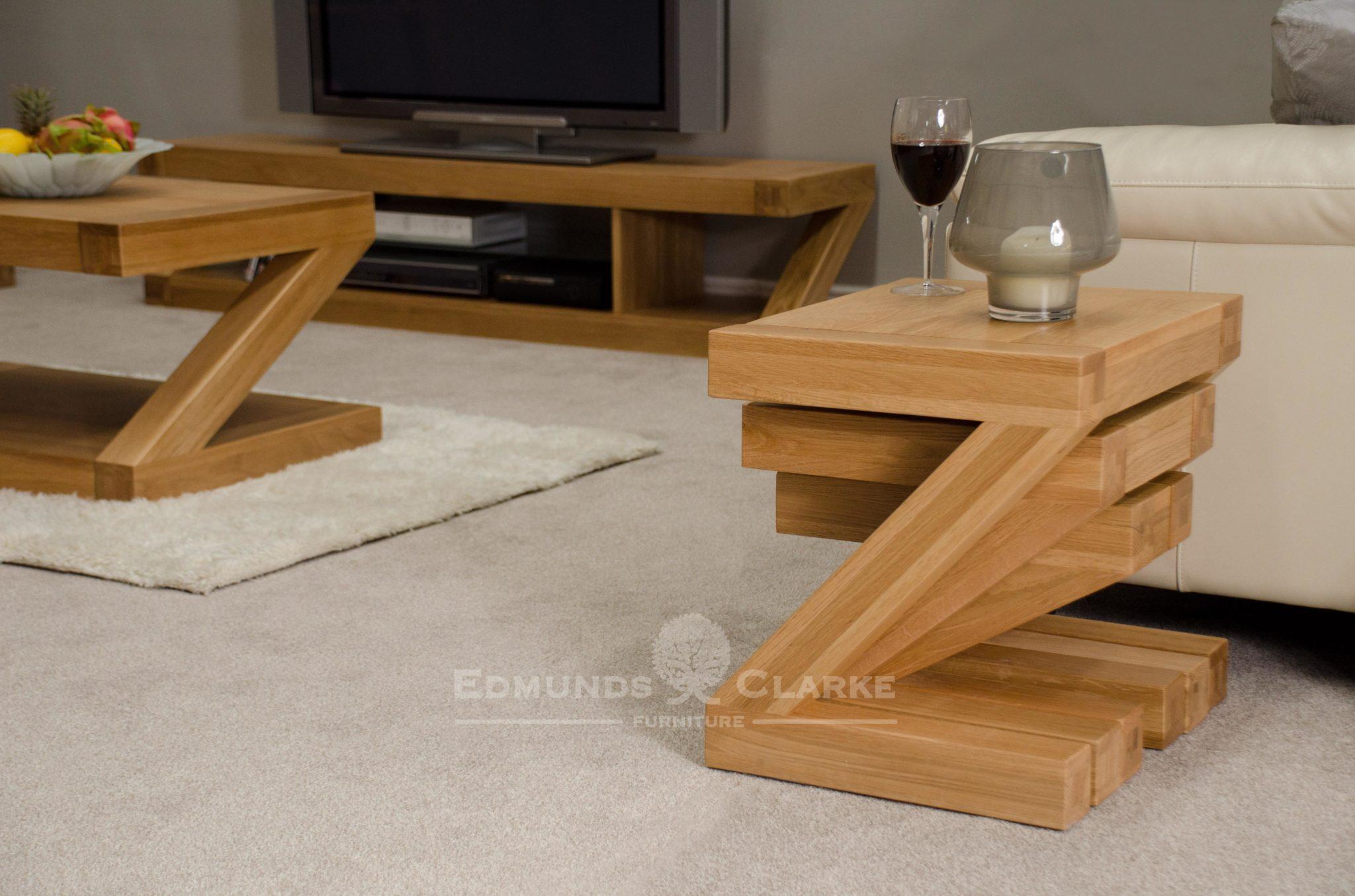 Z designer solid oak nest of 3 tables Z shape ZNEST