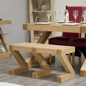 ZSMBENCH solid oak designer shape Z bench