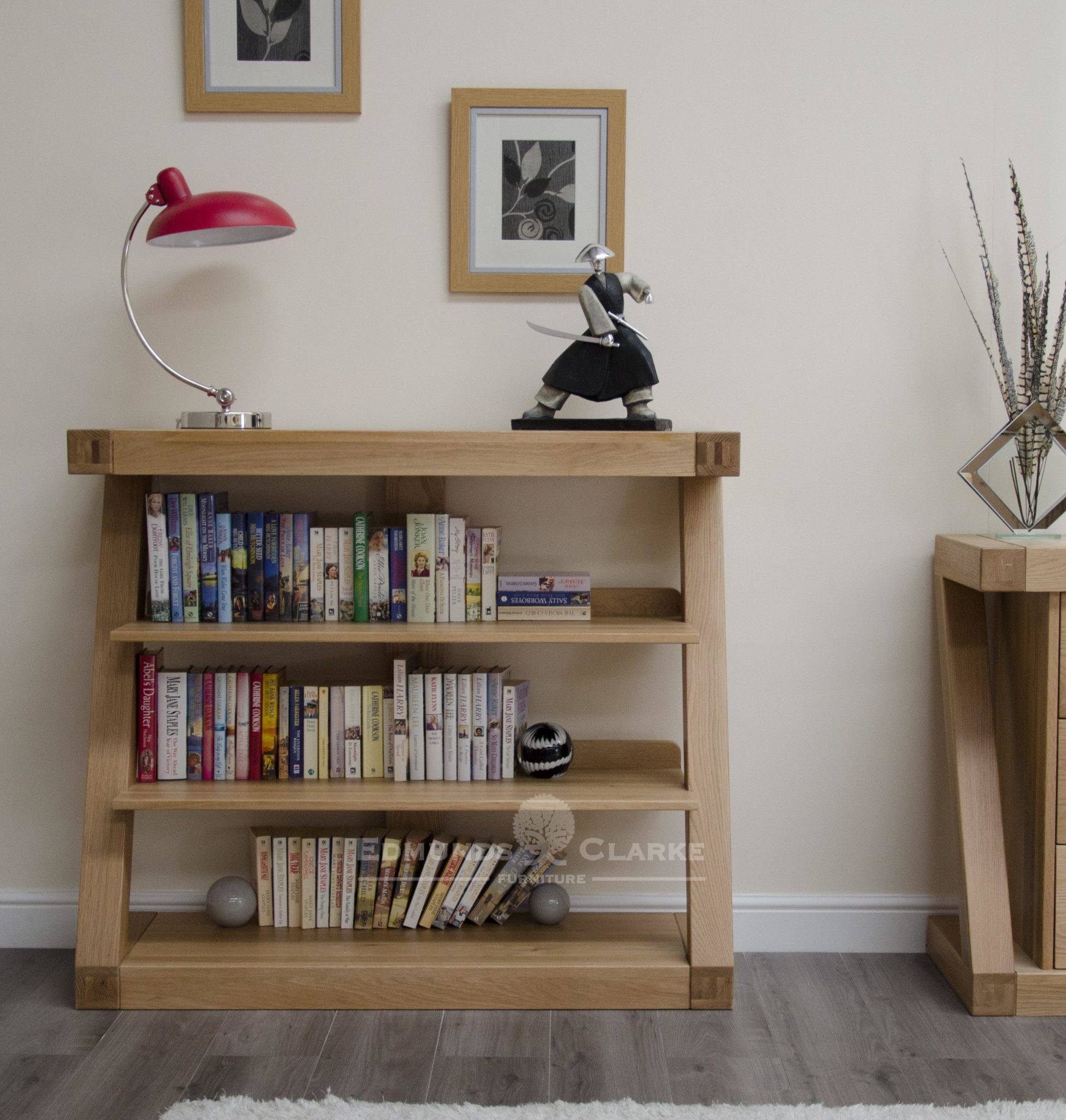 ZSBC designer shaped furniture solid oak bookcase with three shelves