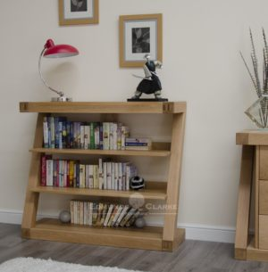 Solid oak Z shape bookcase 3 shelves for books ZSBC