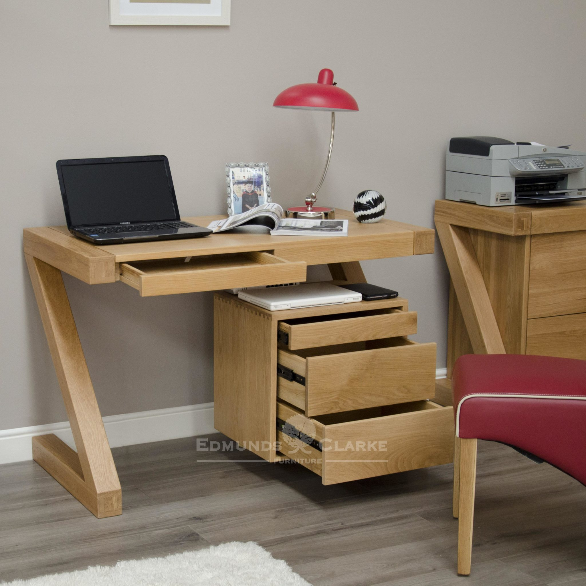 Z designer computer desk with 3 sliding drawers and space for laptop