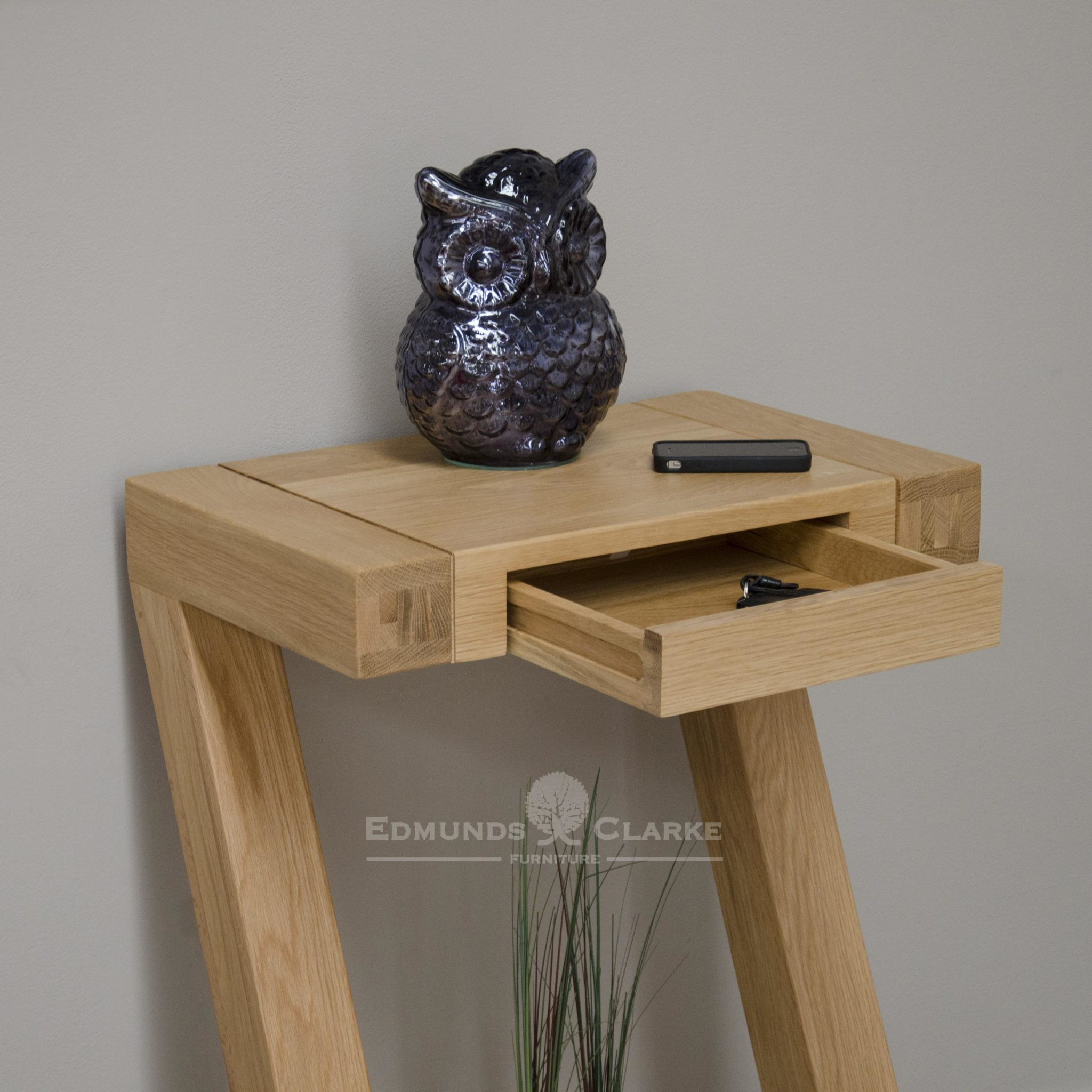 Z designer small hall table made from solid oak in a Z shape ZSMHT