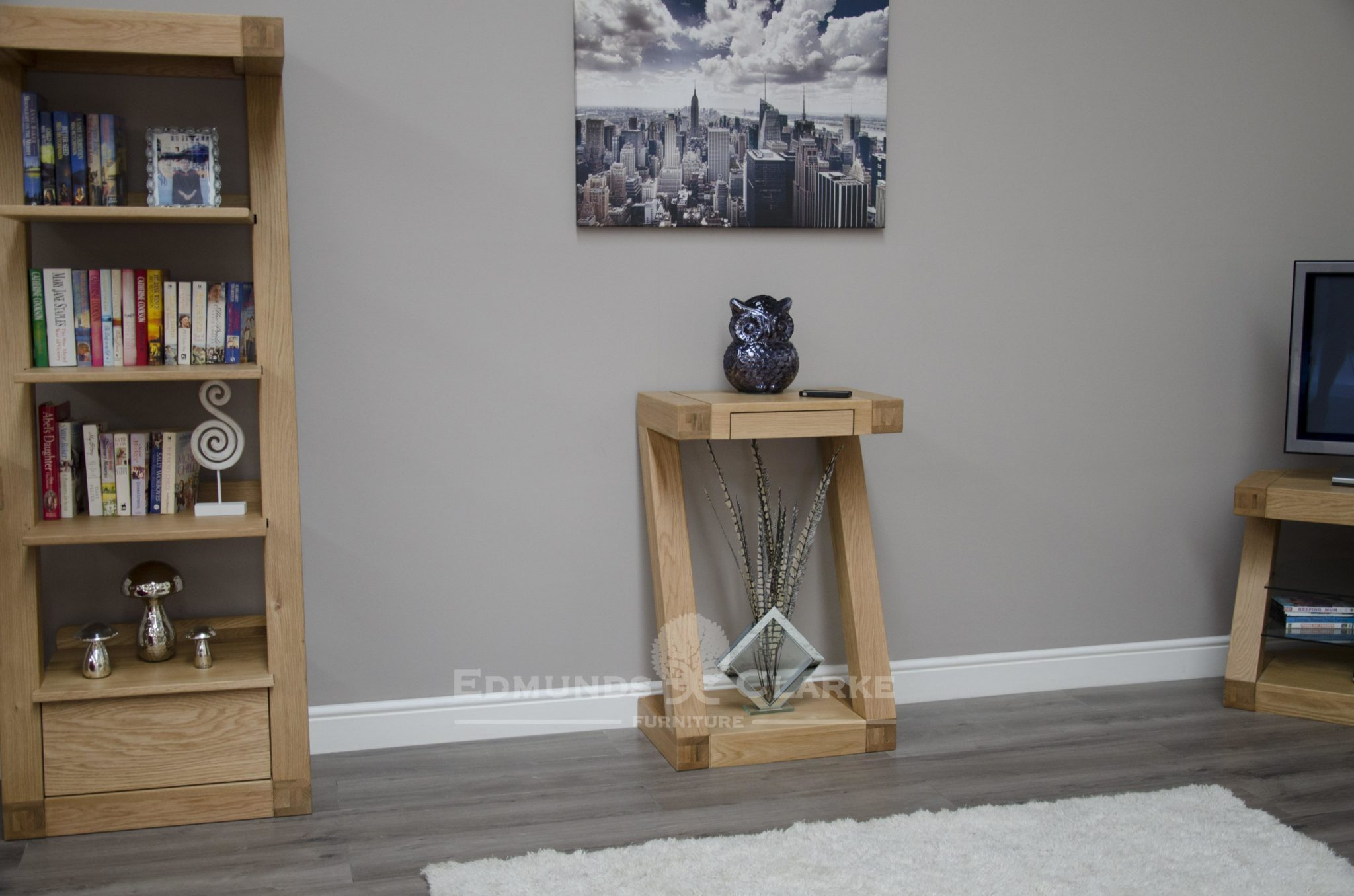 Z designer solid oak small console table with single drawer ZSMHT