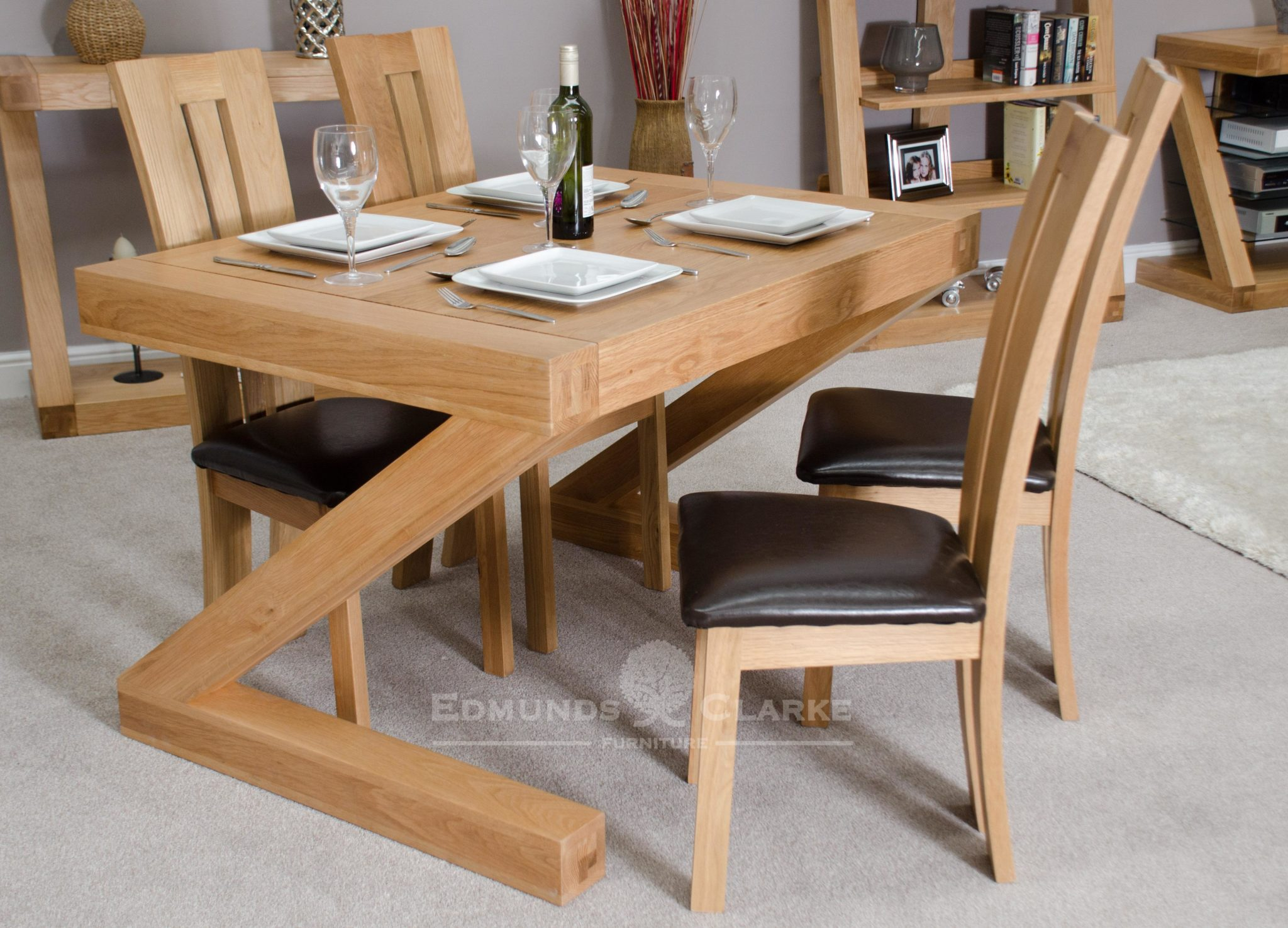 Dining table 4' x 3' solid oak designed in the shape of a Z Z4x3T
