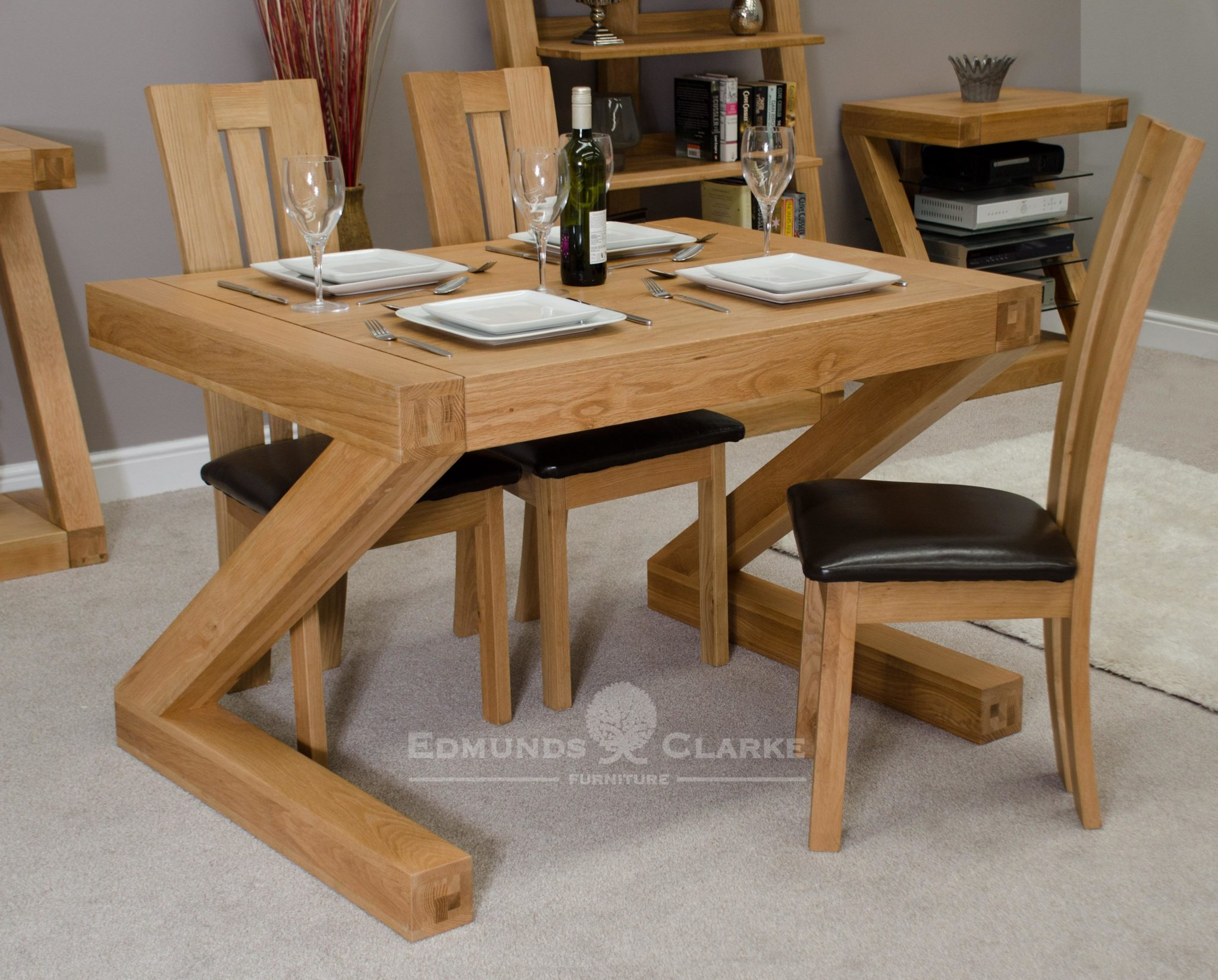 Z shape solid oak designer small dining table Z4x3T