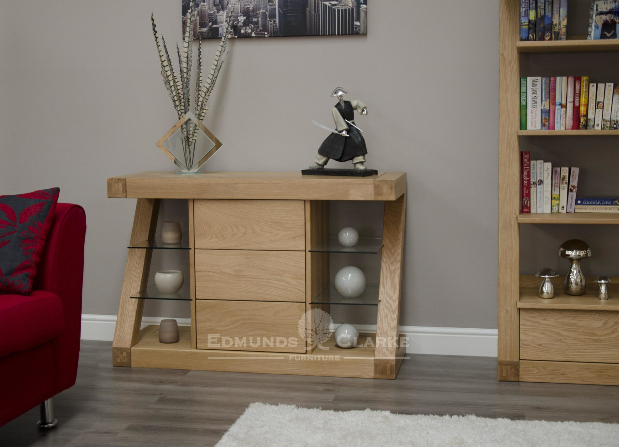 Z shape solid oak small sideboard, designer piece of furniture ZSSB