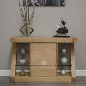 Z designer solid oak small sideboard with 3 central drawers ZSSB