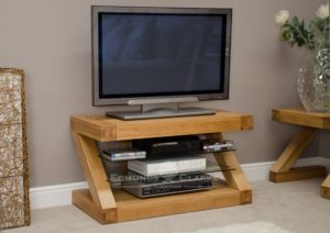 Z designer solid oak TV unit with 2 glass shelves ZTV