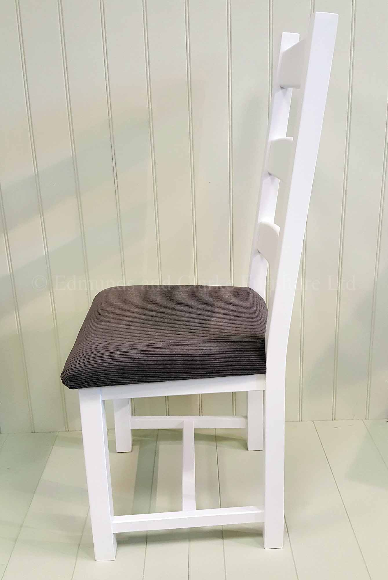 Amish dining chair painted white grey seat pad