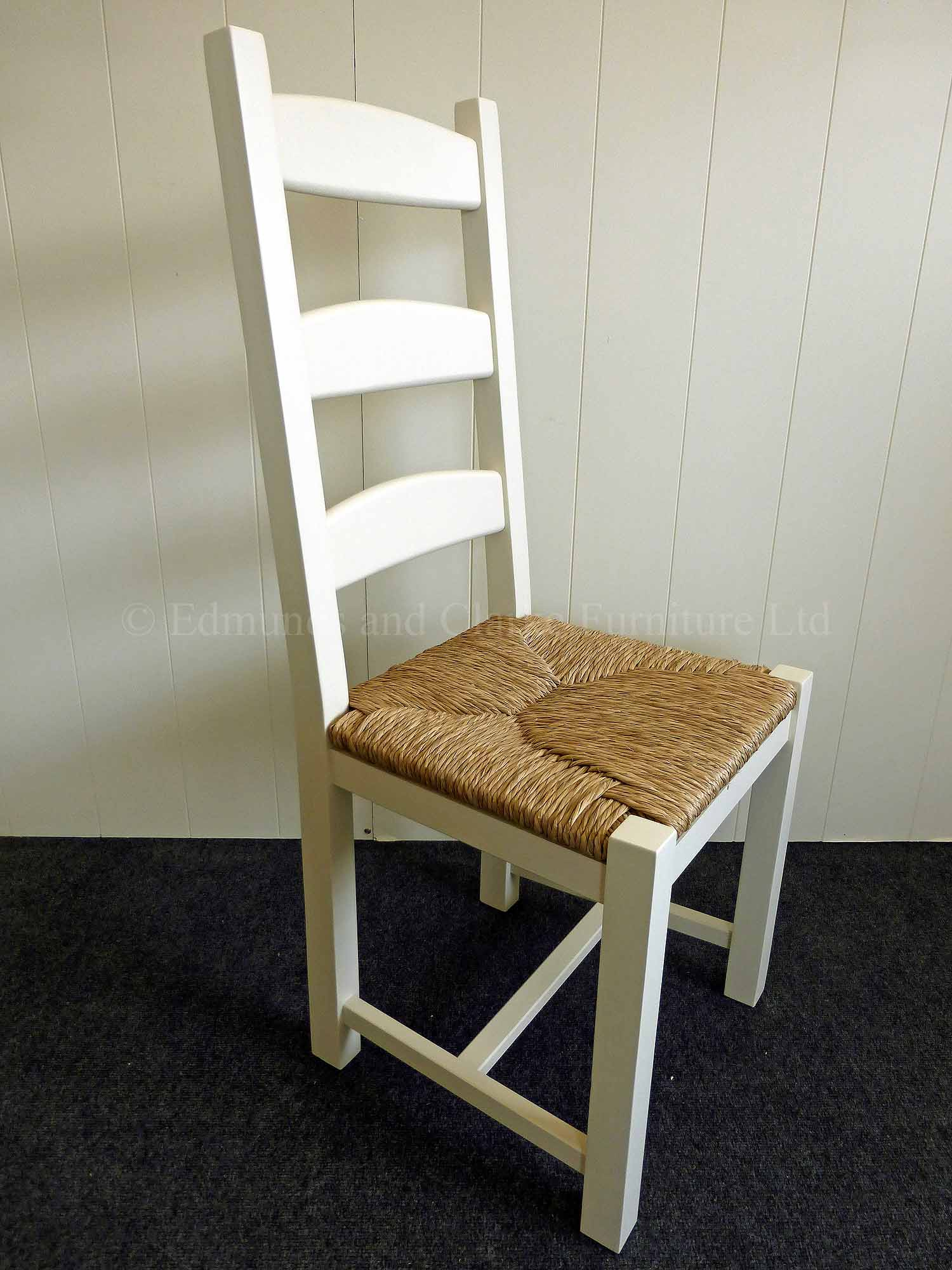 Amish painted white dining chair with rush seat