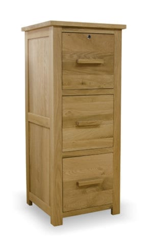 Bury Oak 3 drawer filing cabinet. with lock