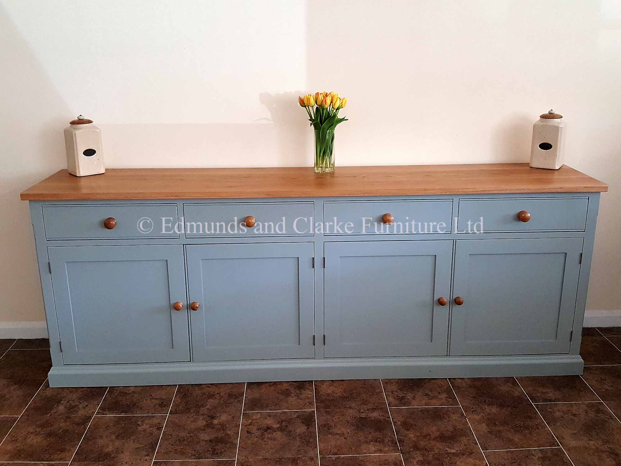 Painted Edmunds sideboard 4 doors and drawers, choice of colours and tops