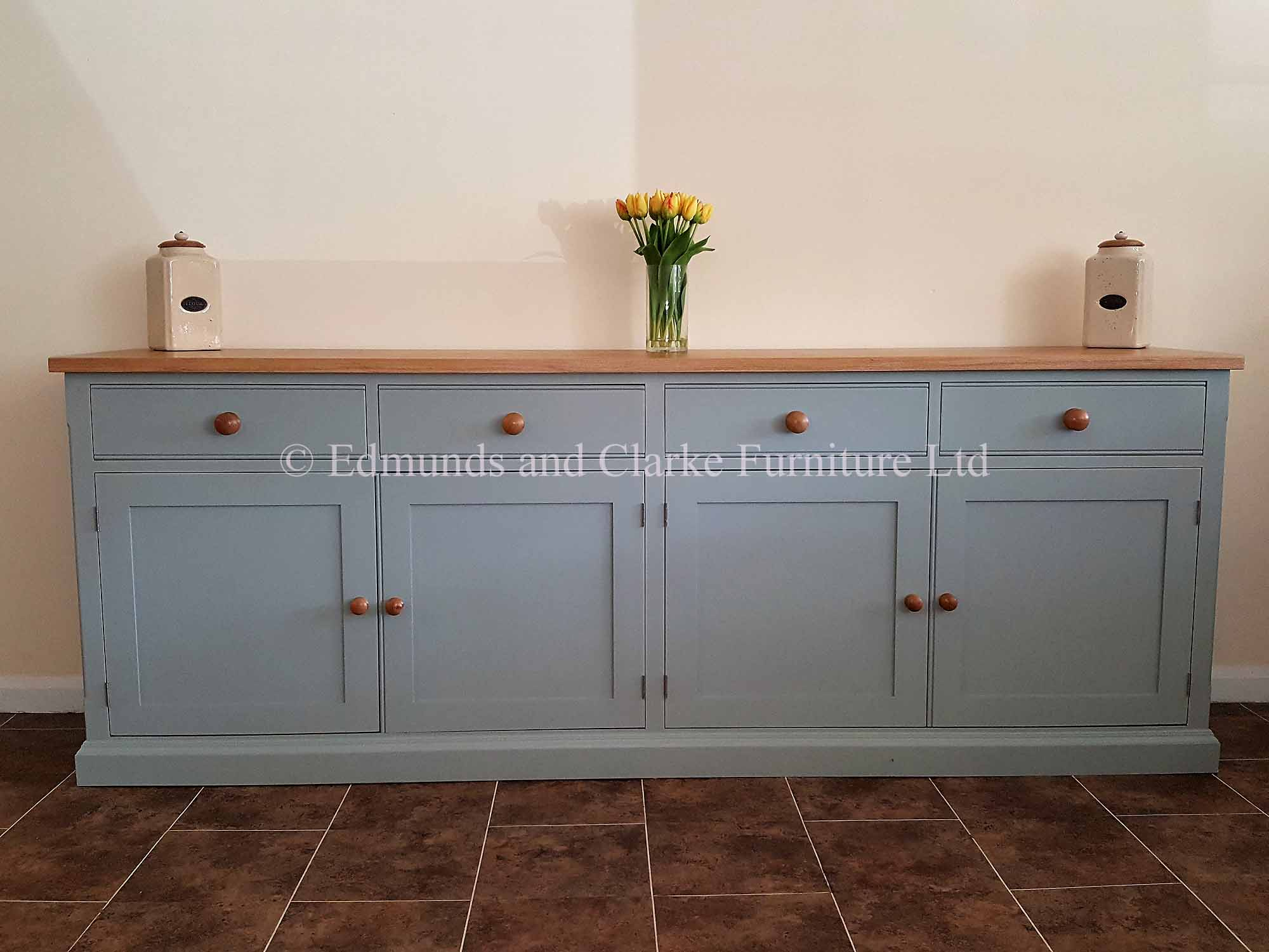edmunds painted 8ft sideboard. solid oak top with 4 wide drawers and doors. 10 colours to choose from and lots of handle and knob options
