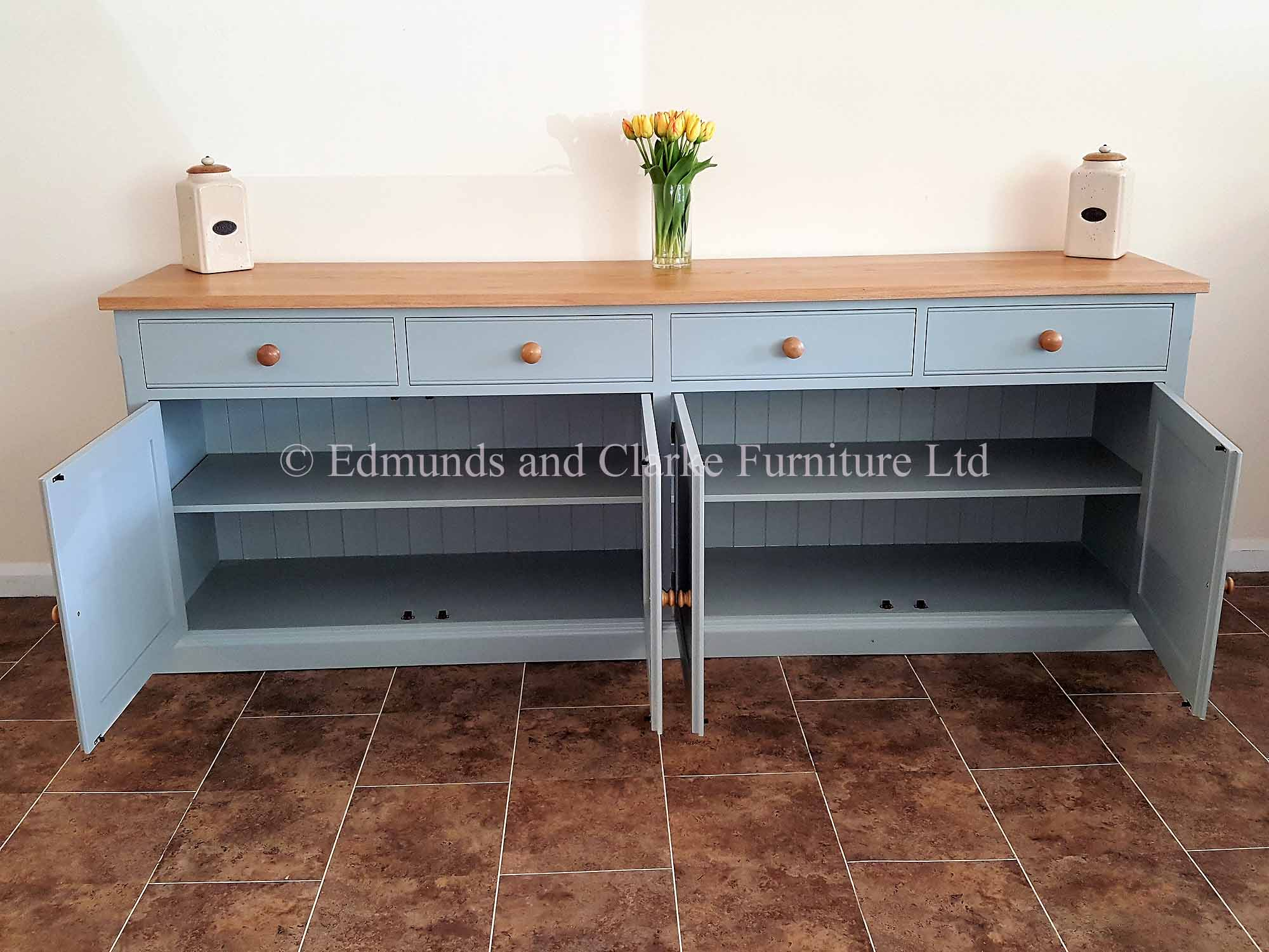 8ft painted sideboard with four doors and drawers choice of colours and tops