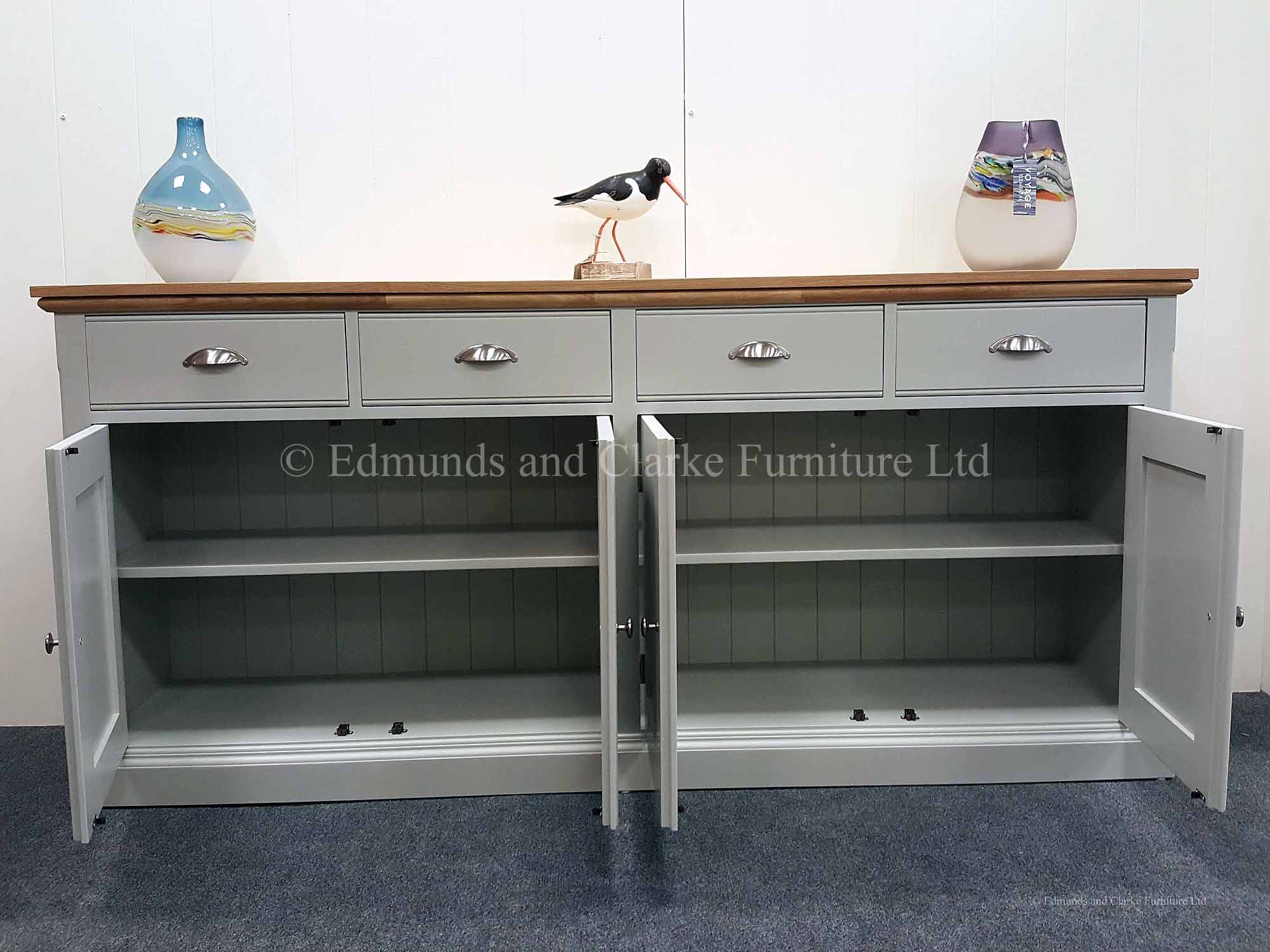 Grey painted sideboard with oak top, choose your paint colour and tops