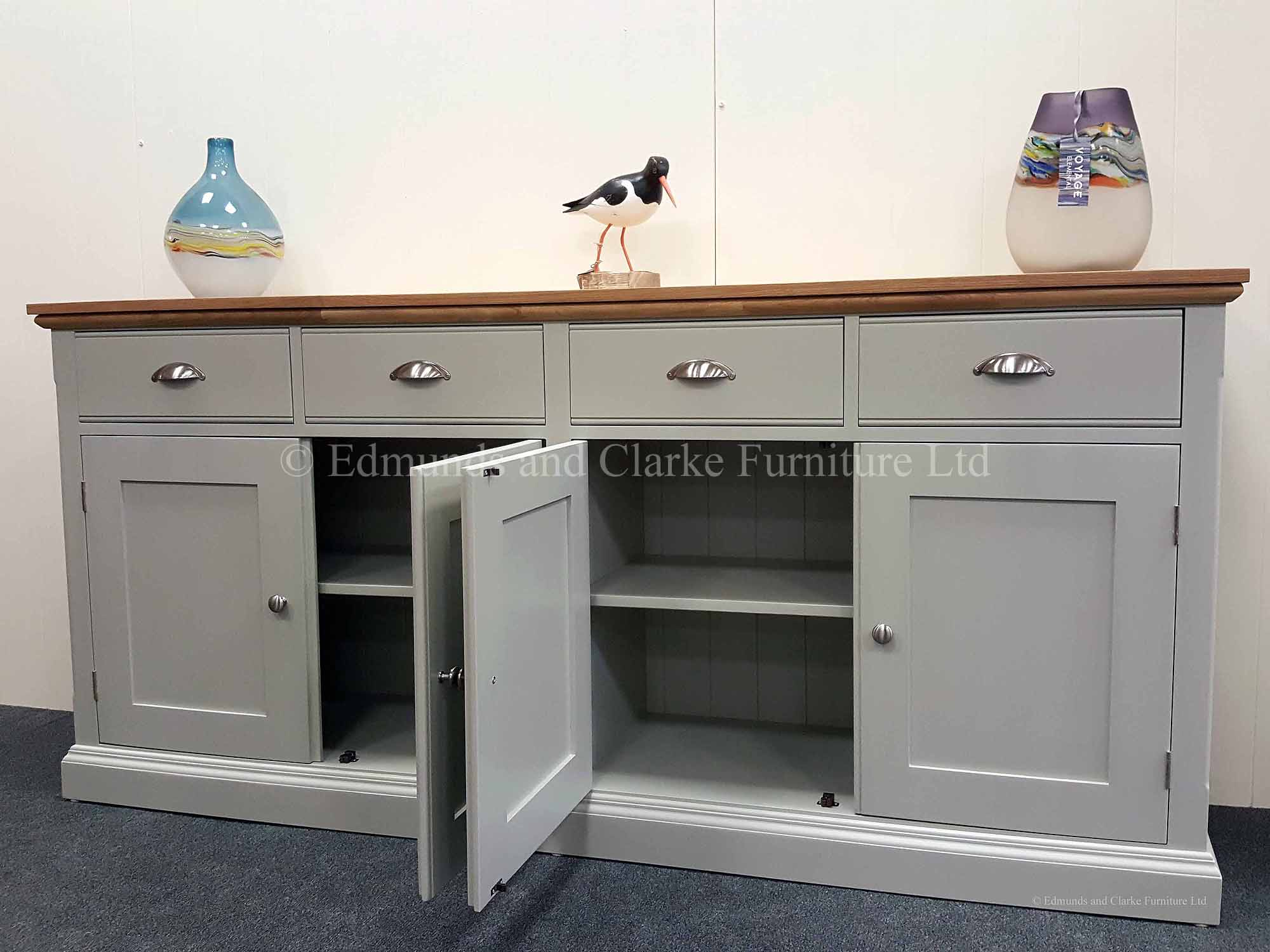 Painted sideboard 6ft wide 4 doors and drawers grey with oak top