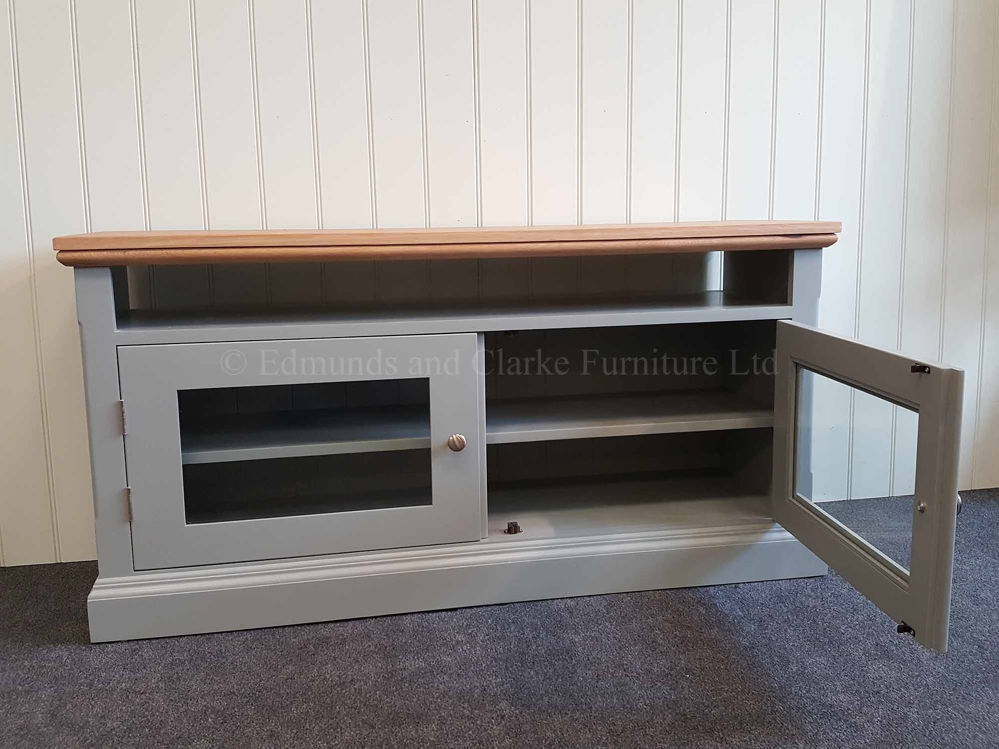 Edmunds painted glazed two door tv unit with oak top