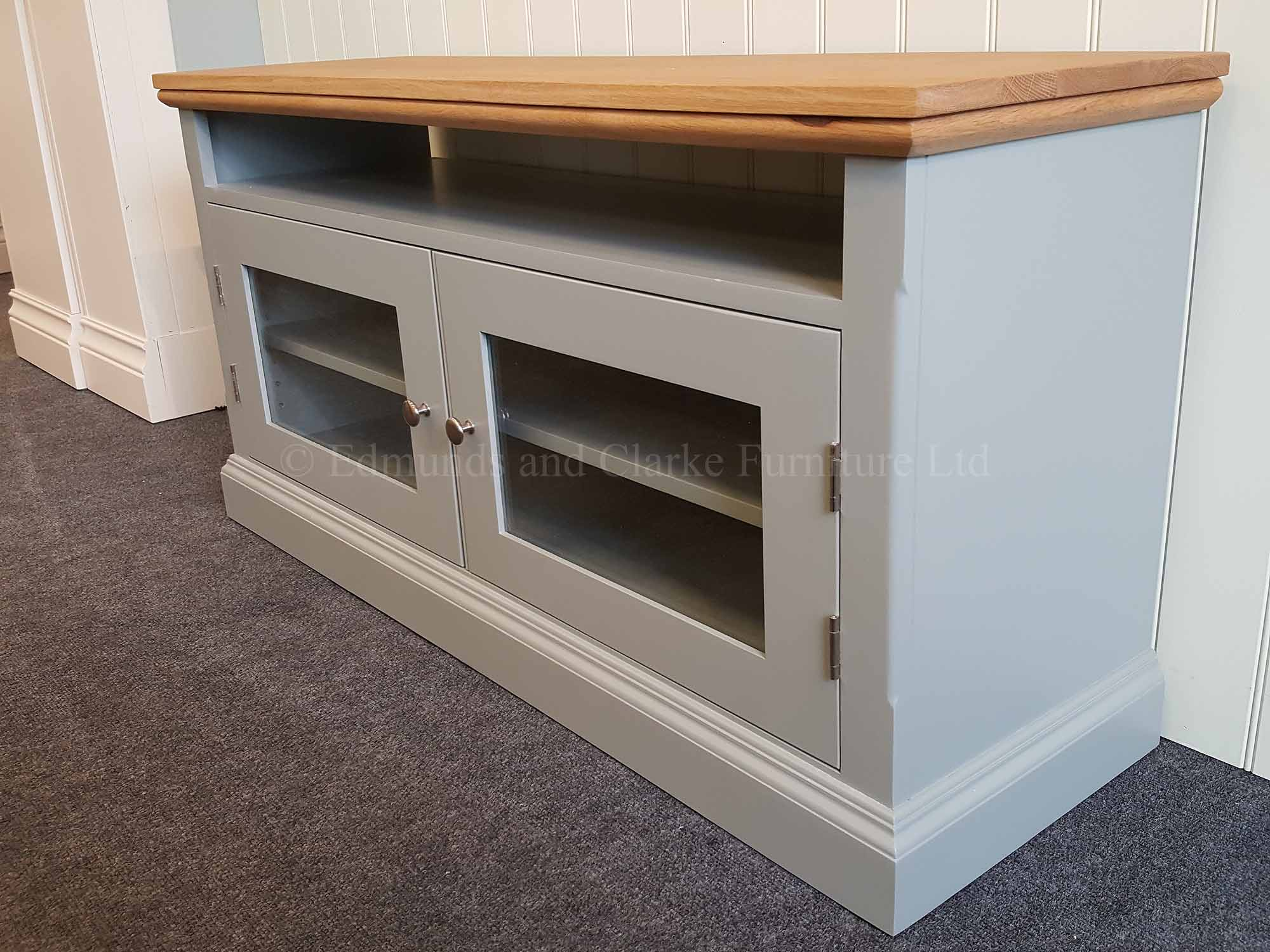 Edmunds painted tv unit two glazed doors with space for soundbar