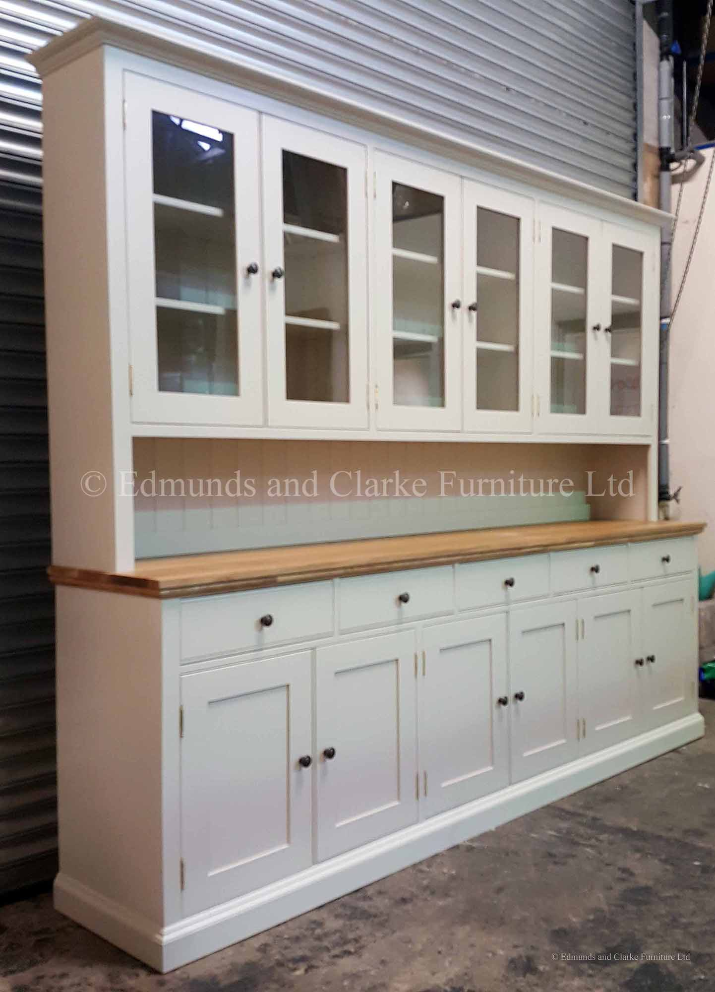 Huge wide 9ft painted glazed dresser choose your paint colour and oak top