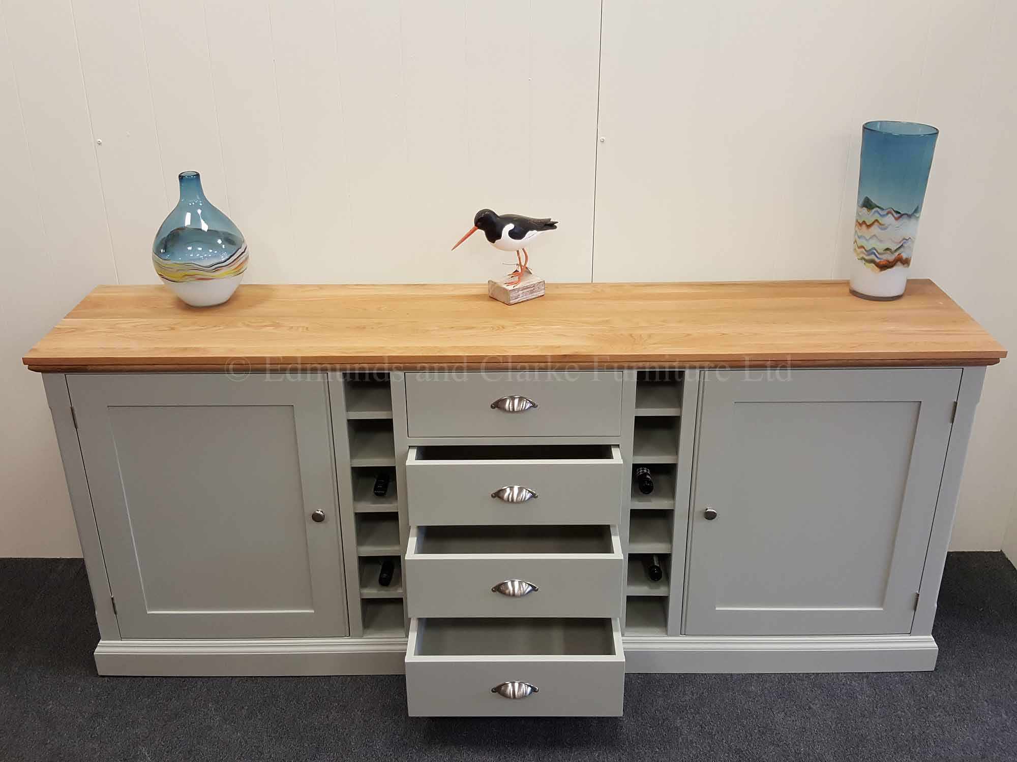 7' painted sideboard oak top large cupboards and 12 bottle wine rack storage