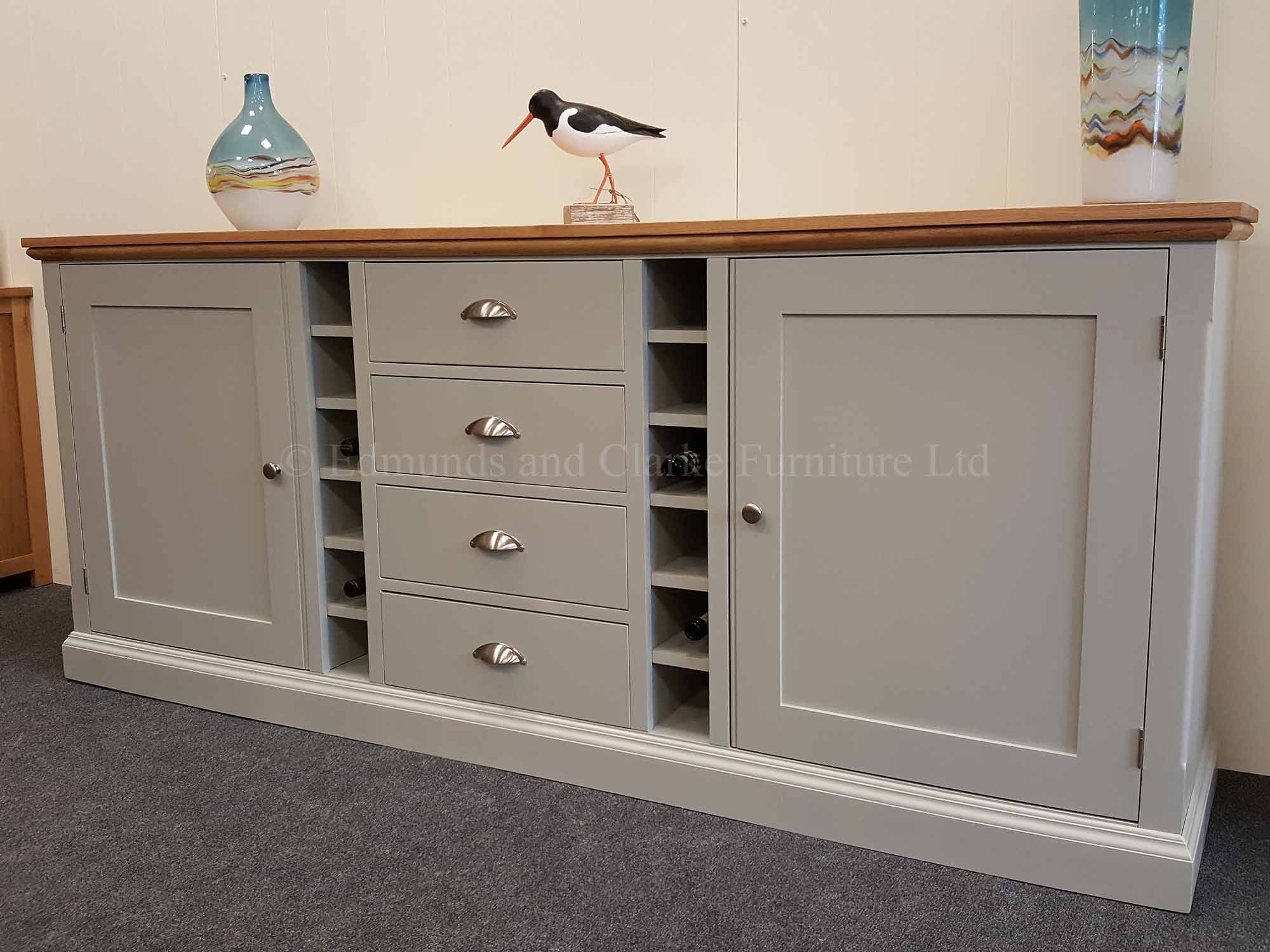 edmunds painted 7' multi sideboard 2 large doors 12 wine bottle holder and four central drawers