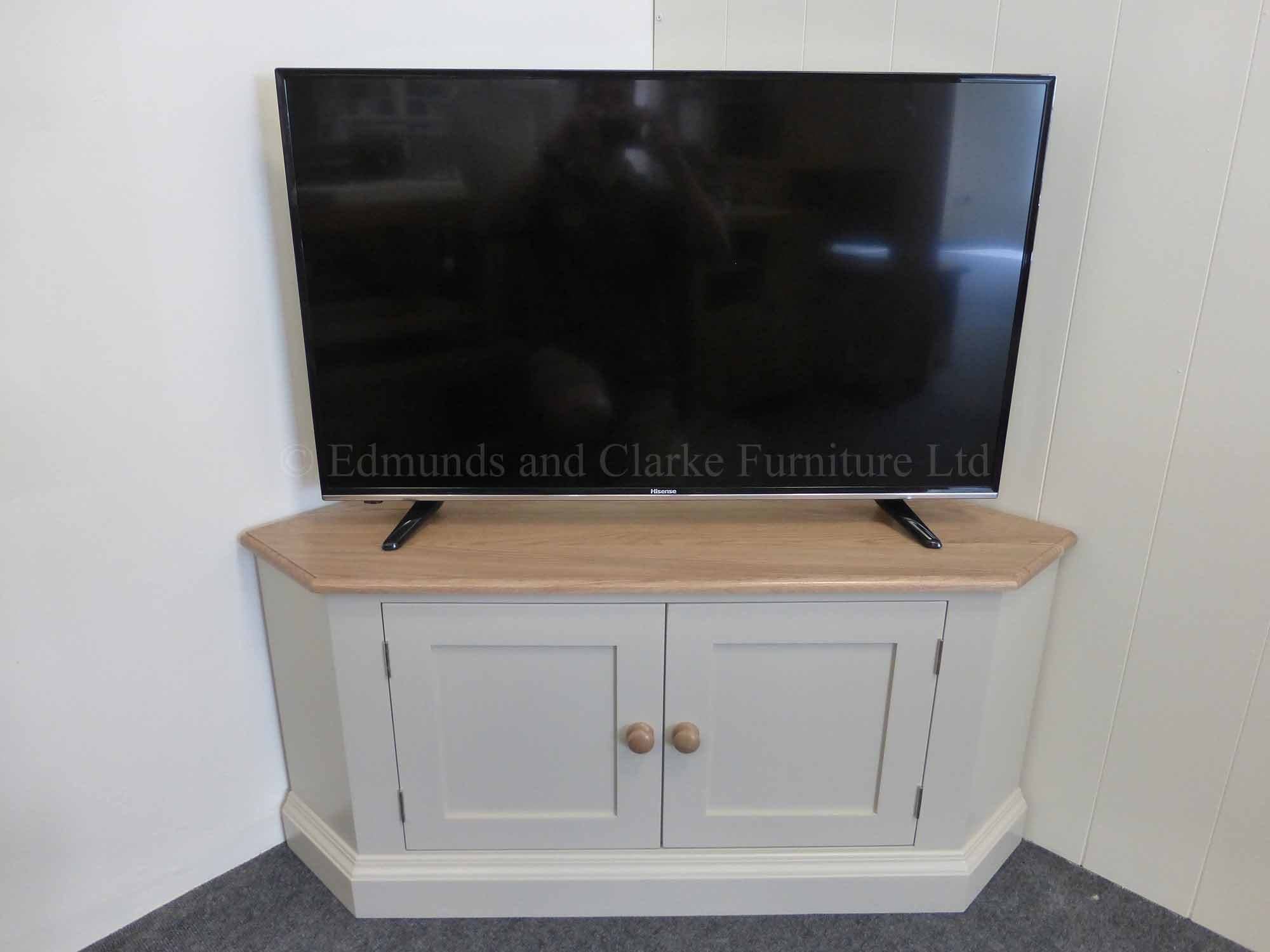 Edmunds Painted Large Corner Tv Stand With Doors