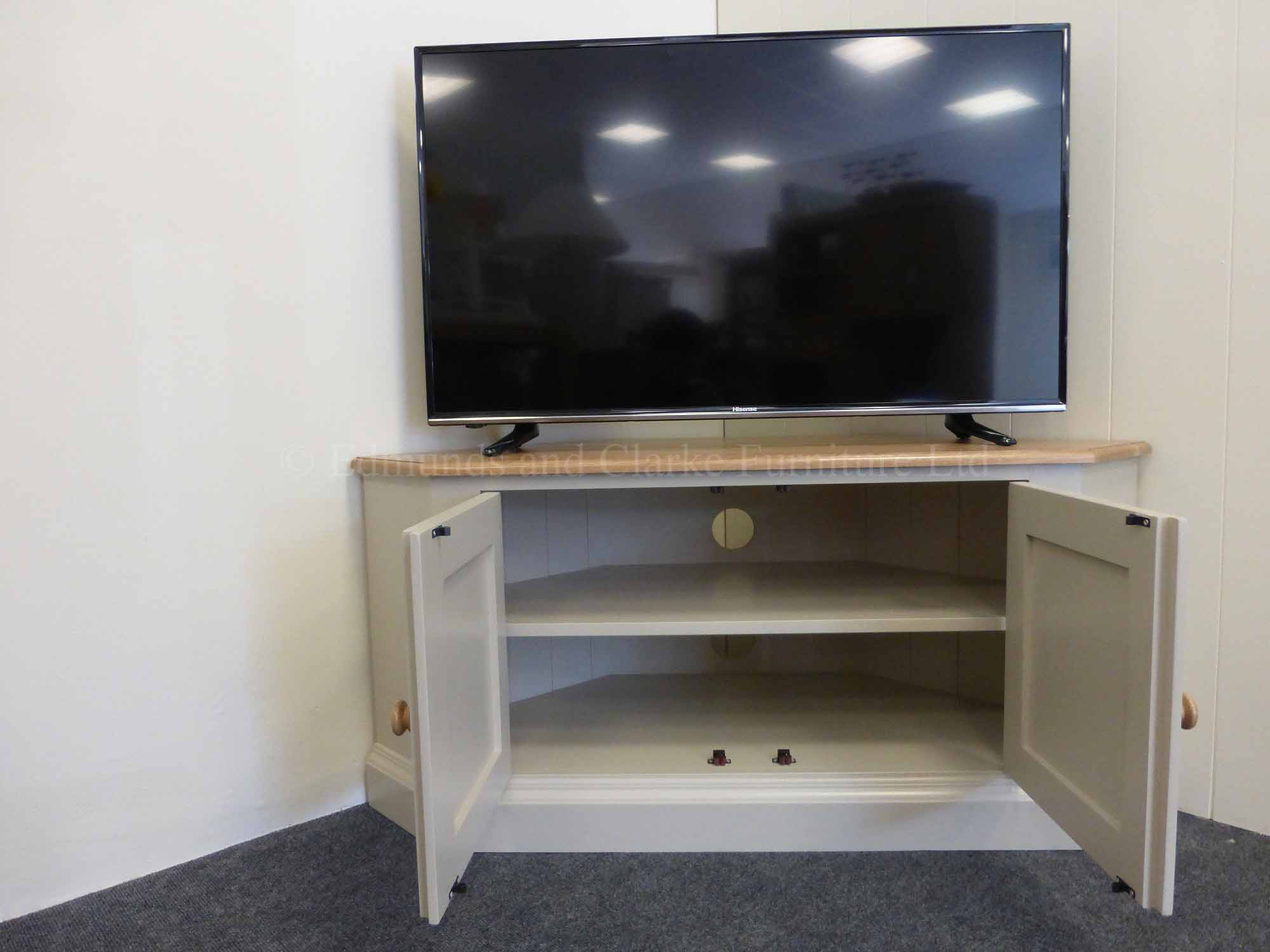 Edmunds wide corner television unit painted with oak top