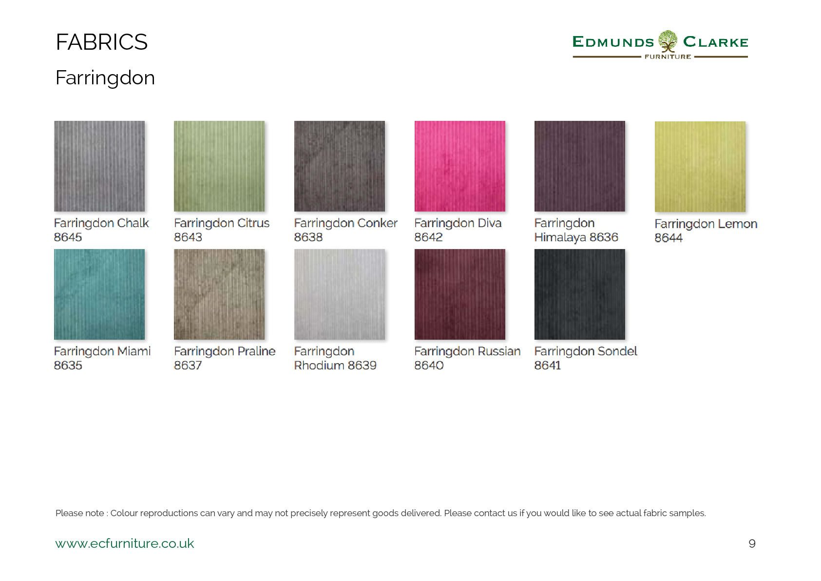 Farringdon fabric swatches for our range of Edmunds dining chairs
