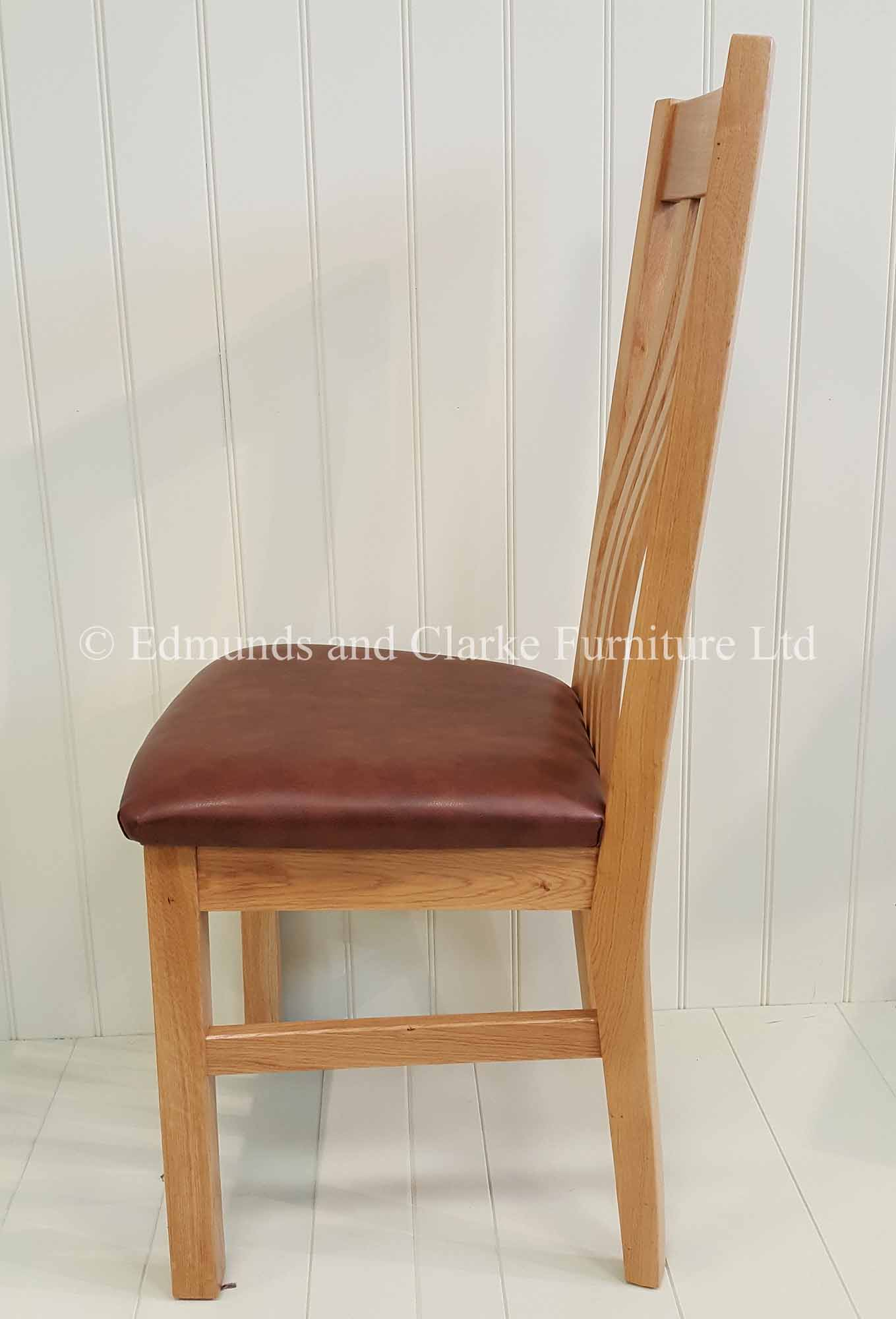 Harrington oak dining chair with leather pad