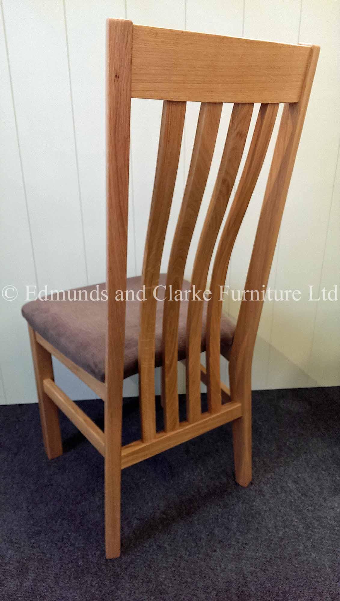 Harrington oak dining chair with velvet seat pad light brown