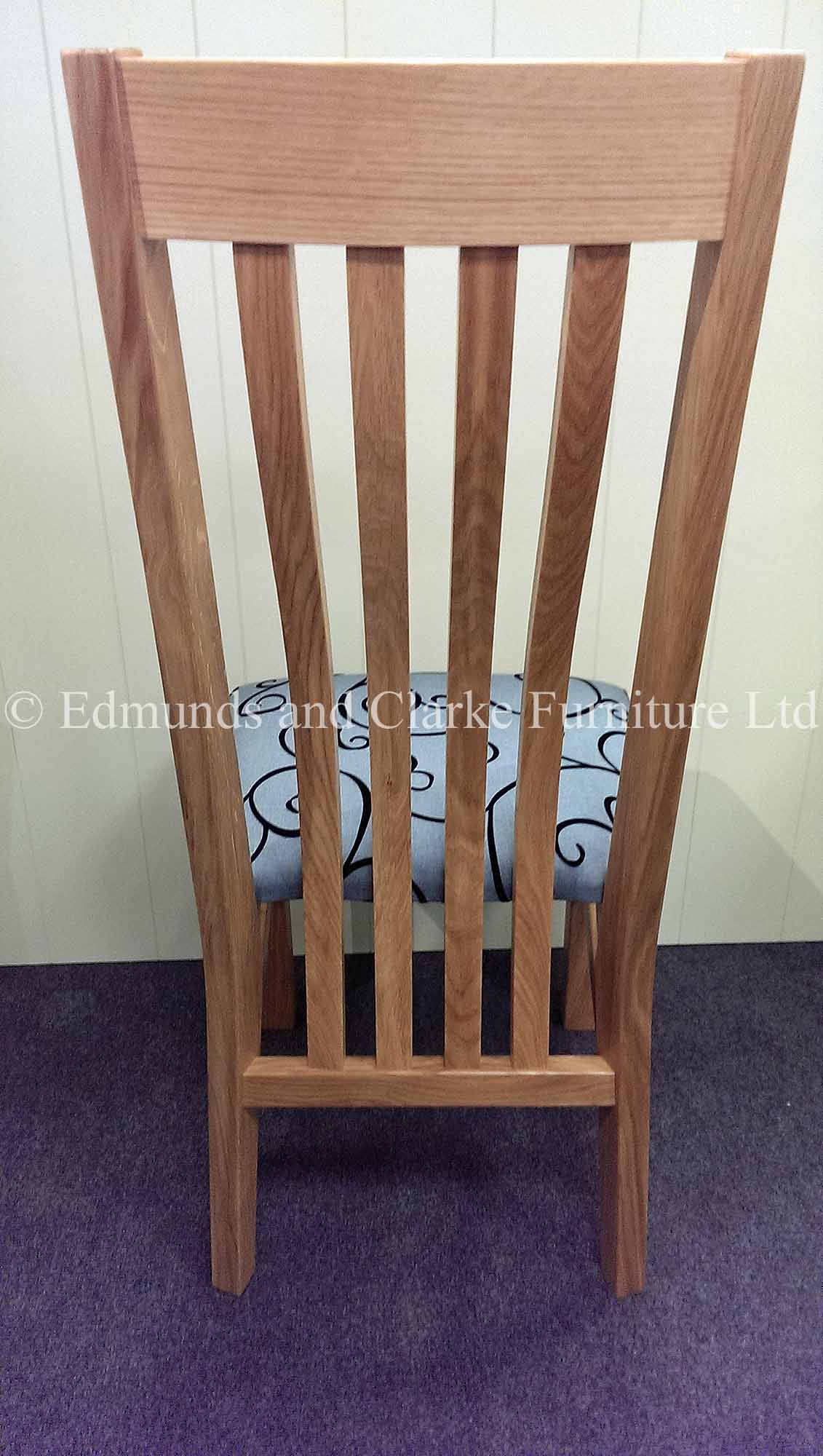 Harrington oak dining chair with slatted curved back support and fabric seat pad