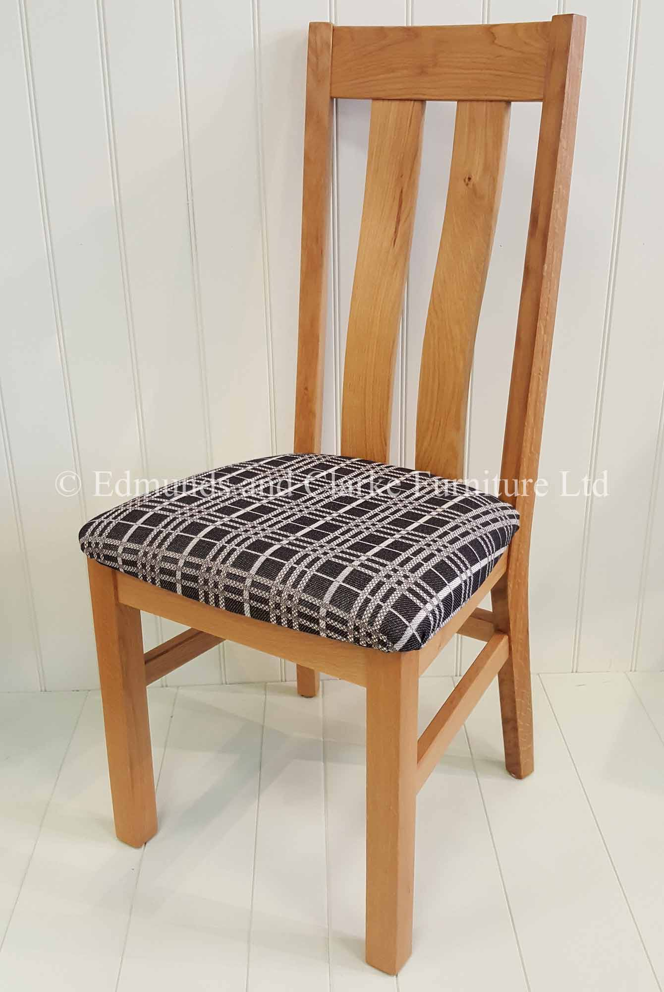 Edmunds Harris Oak Dining Chair, available a s fabric seat pad or standard oak seat various seat pads