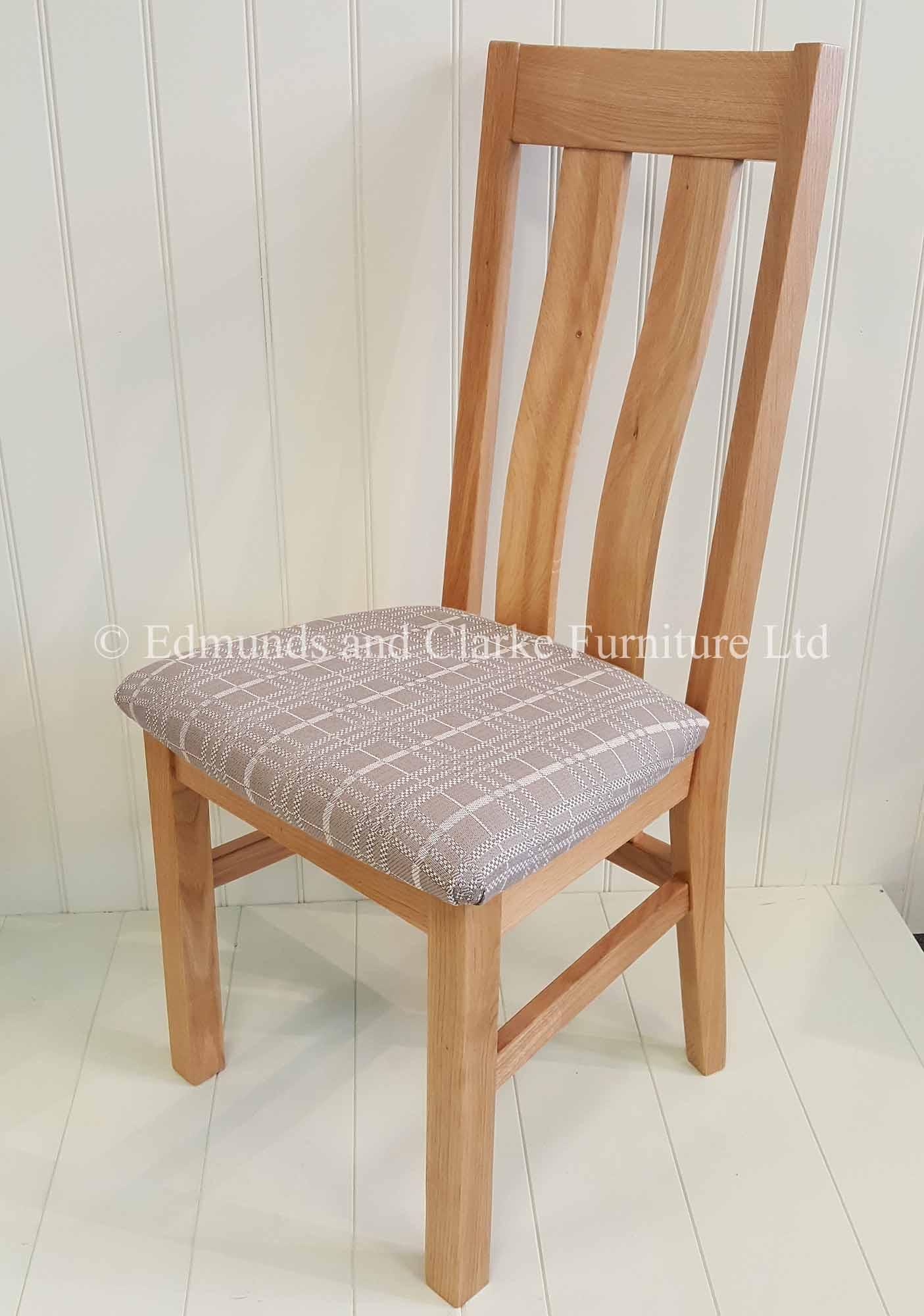 Harris oak dining chair two wide slats in back rest
