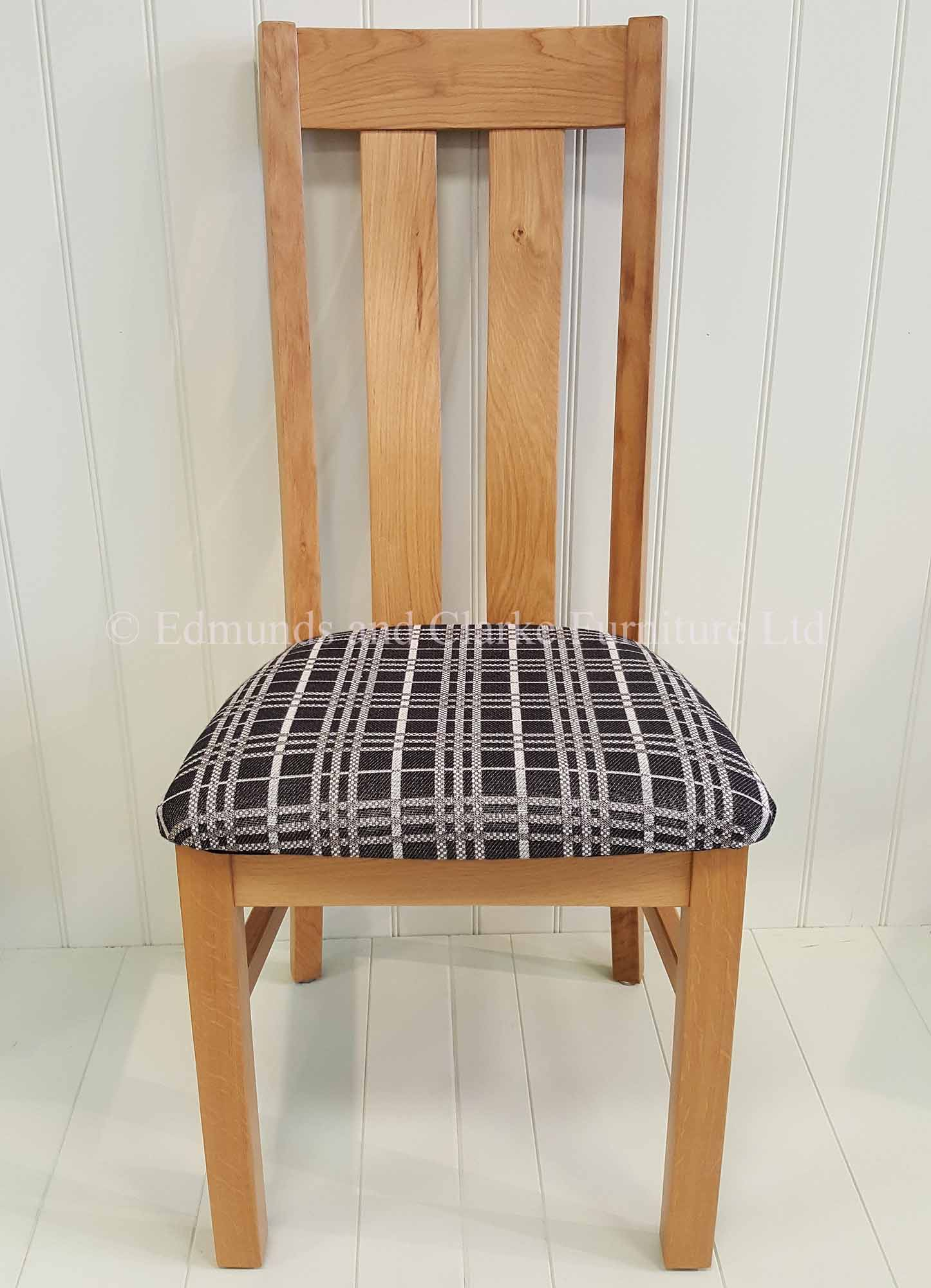 Harris oak dining chair with grey chequered seat pad