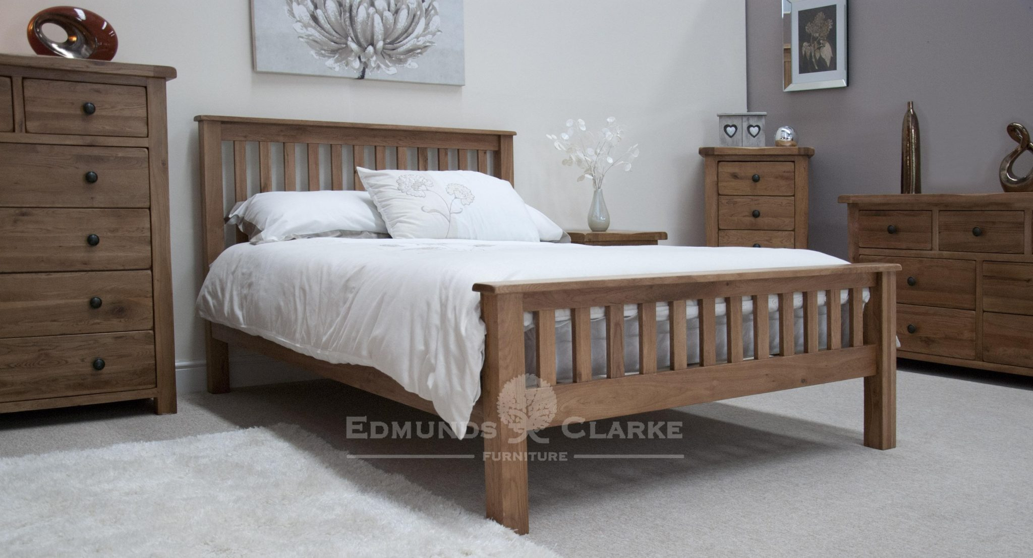 Lavenham solid rustic oak king size bed. vertical slatted head and foot boards