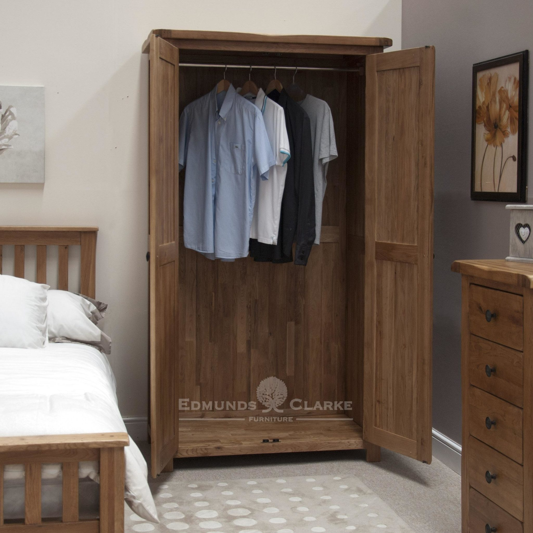 Lavenham rustic oak full hanging wardrobe