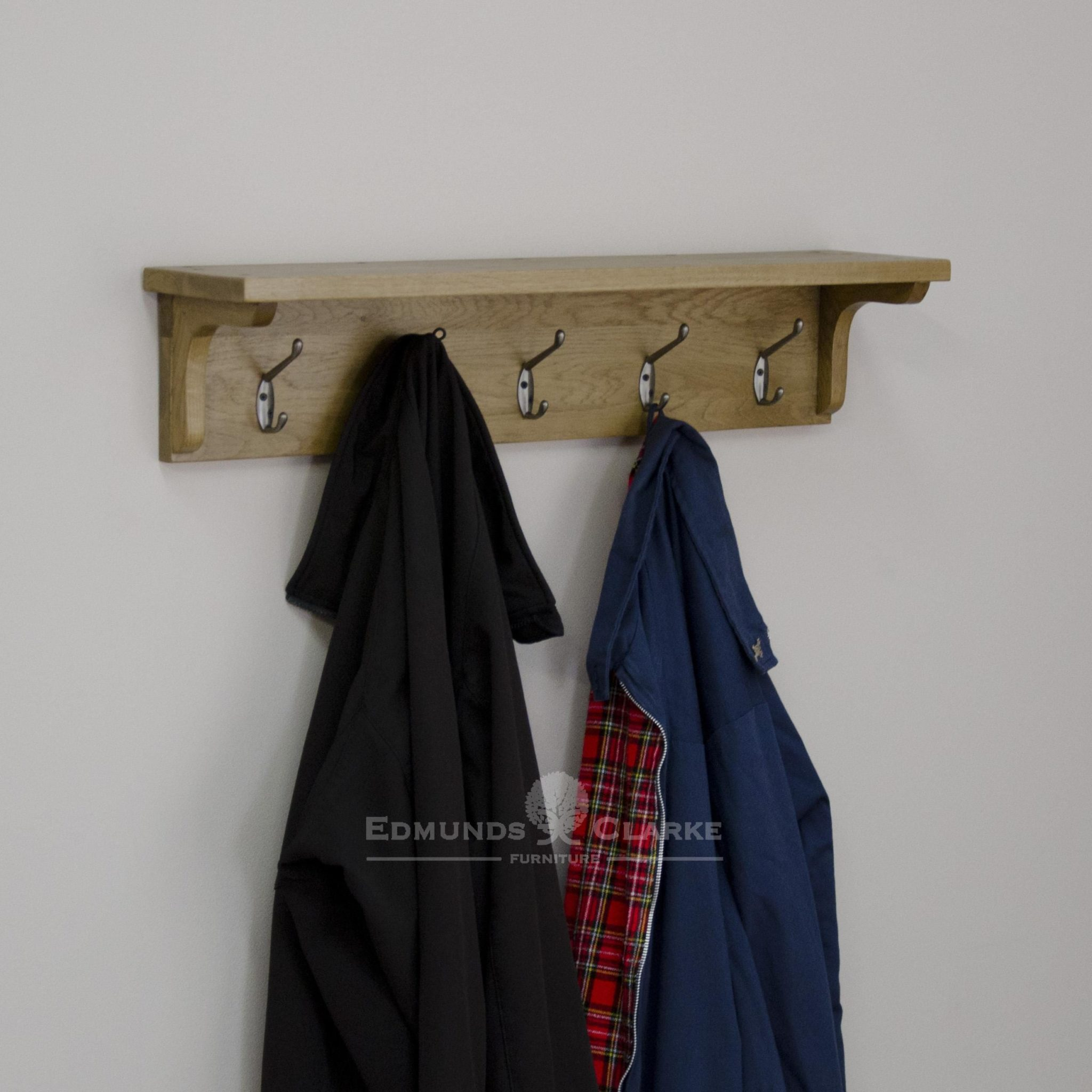 Lavenham solid rustic oak wall mounted coat rack. 5 double hook with shelf above. perfect for hat and scarves, gloves