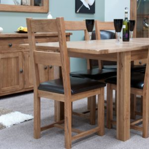 Lavenham Solid Rustic Oak Dining Chair. real leather brown seat pad and horizontal slats on back