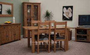 rustic oak extending dining table. with one leaf extends to 165cm and 2 leaves extends to 198cm square chunky legs