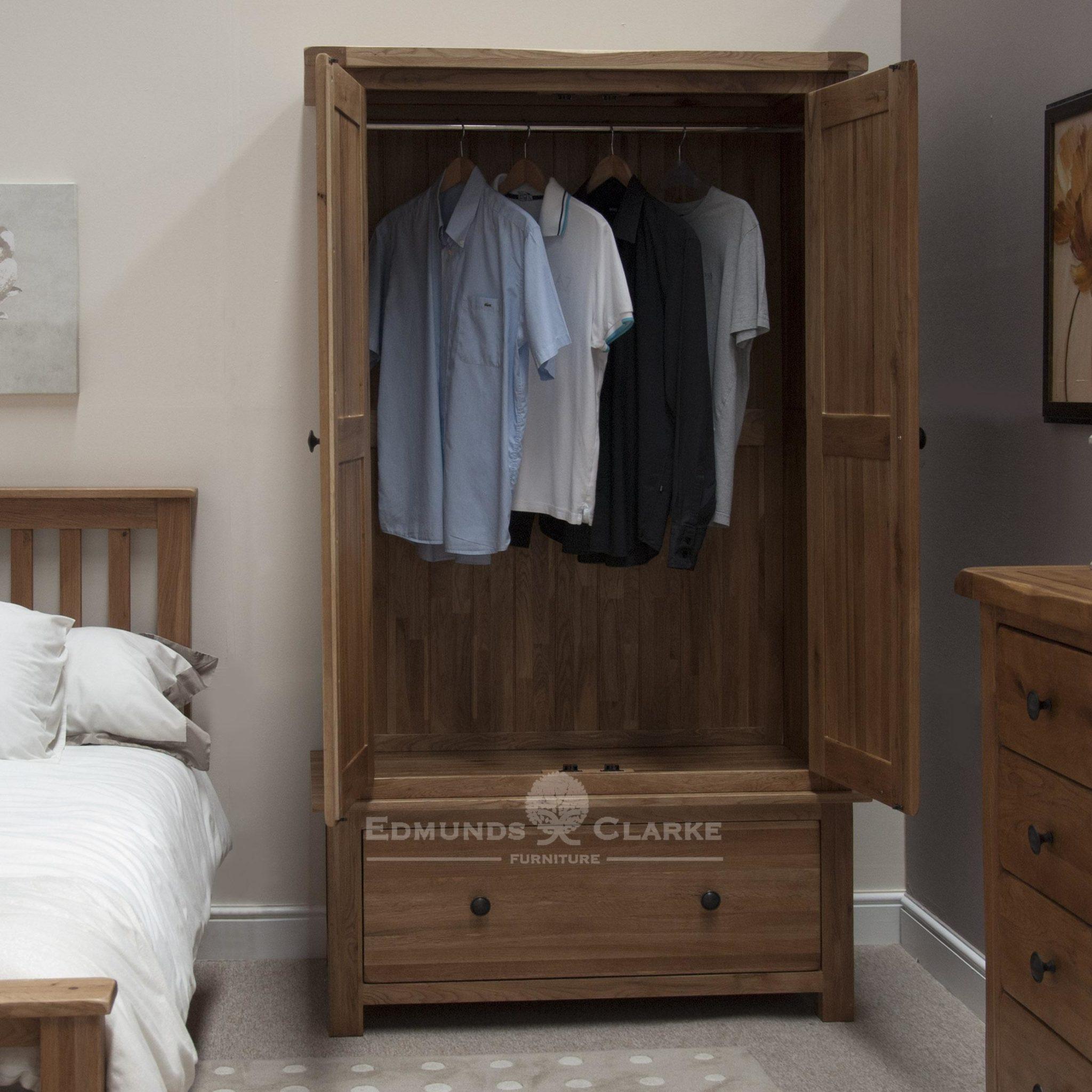 Lavenham rustic oak wardrobe with two doors and large deep drawer below