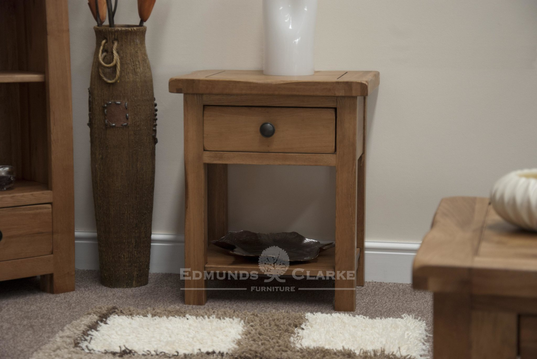 Lavenham solid oak sofa lamp table with 1 drawer and shelf under. pewter knobs as standard