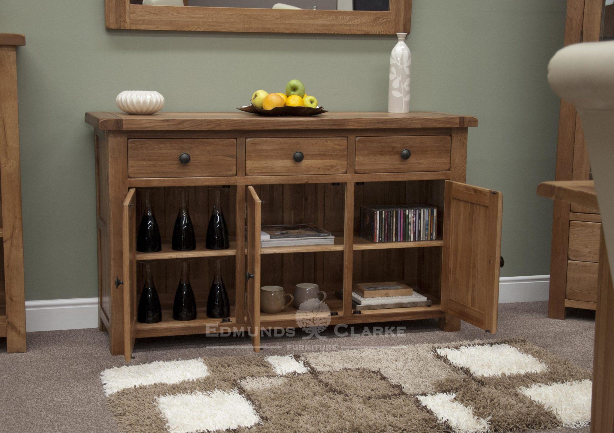 Lavenham rustic oak 3 door 3 drawer sideboard