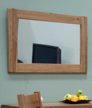 Lavenham solid rustic oak framed wall mirror. bevelled mirror. can be hung vertically or horizontally