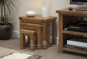 Lavenham solid oak nest of tables, set of 3 tables that sit under each other for extra space saving