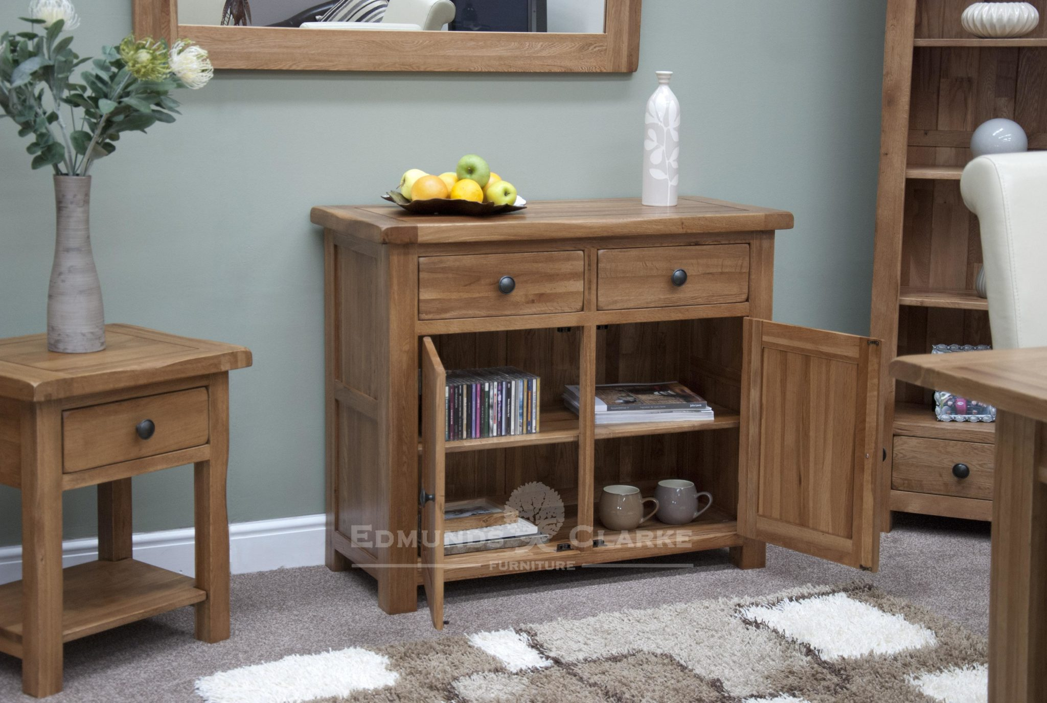 Lavenham oak small rustic sideboard two doors and drawers