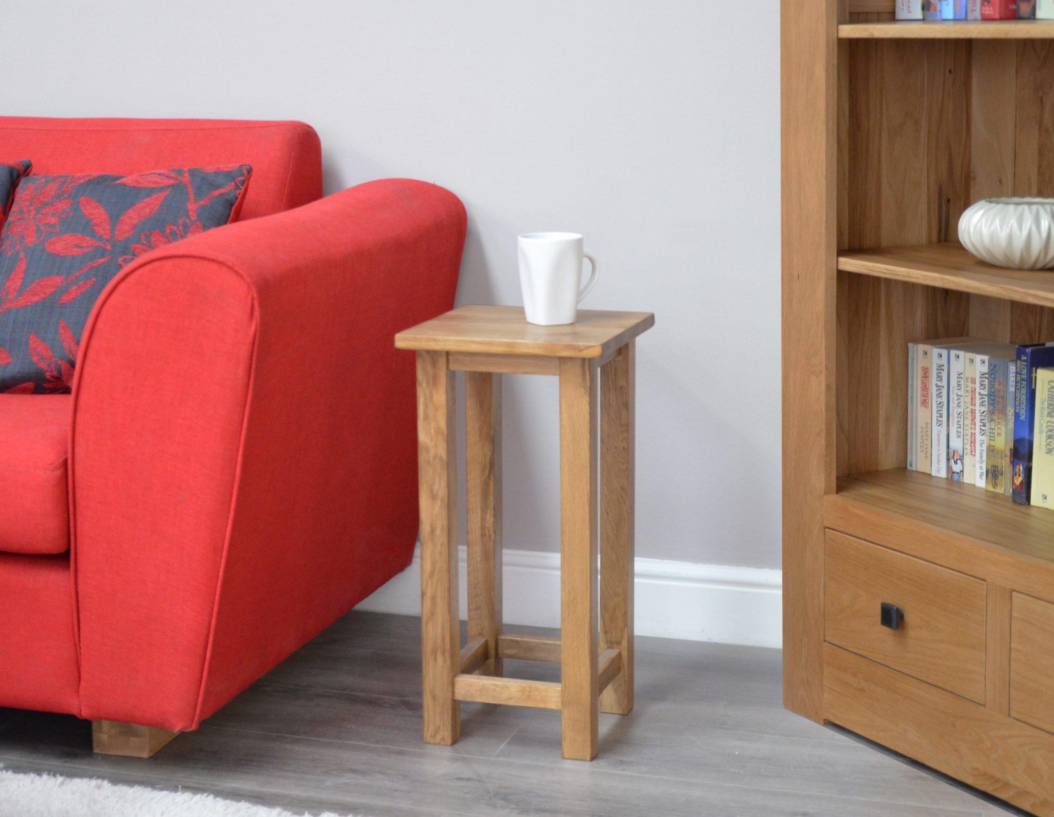 Lavenham Solid Rustic Oak occasional square lamp table. super slim for side of sofas