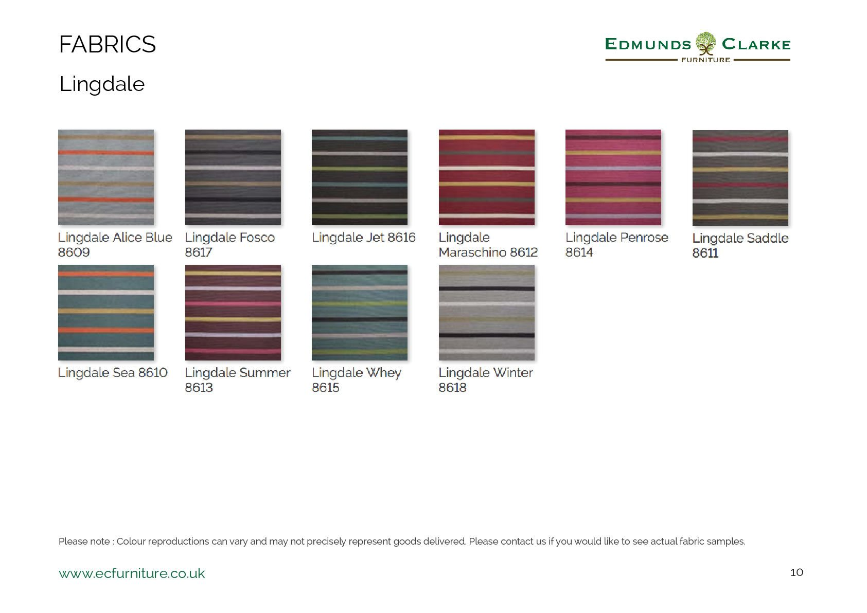 Lingdale fabric swatches for our Edmunds dining chairs