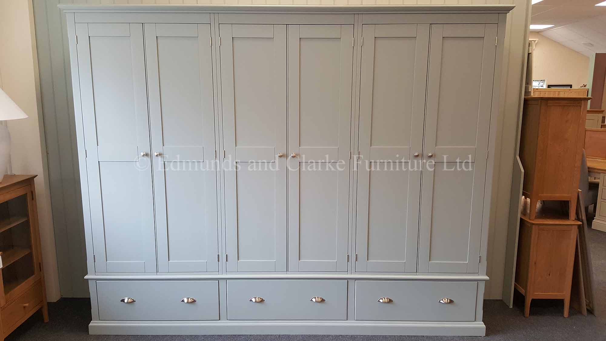 Large Painted six door wardrobe with three drawers below painte grey